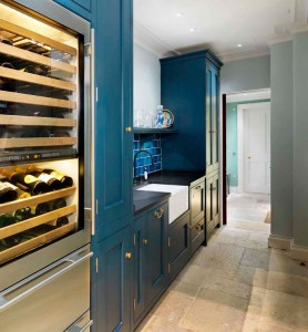 Pantry Cabinets made with Oak interiors and hand-painted Tulipwood doors and exteriors.  Welsh slate worksurface.