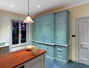 Housekeepers Cupboard - Oak interior and a hand-painted exterior.  Retractable doors.