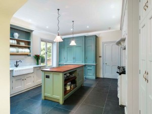 Hand-painted Kitchen with Oak interiors, marble and reclaimed Iroko worksurfaces,