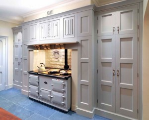 Cooking Range cabinetry, Oak interior and hand-painted exterior.