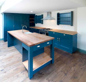 Hand-painted Kitchen cabinetry with solid oiled Douglas-Fir worktops.
