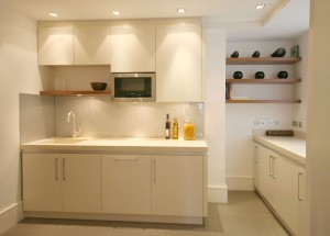 Spray-painted cabinets with Walnut shelves. Stone worksurfaces and neutral glass splashback.
