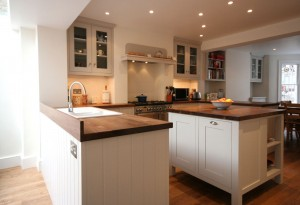 Hand-painted Kitchen with solid Walnut worksurfaces.
