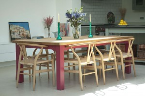 Kitchen Table with painted under-frame and oiled Oak top.