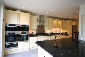Hand-painted Kitchen with granite worktops.