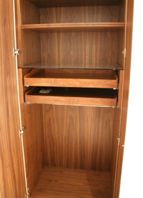 American Black Walnut veneered Wardrobe interior.