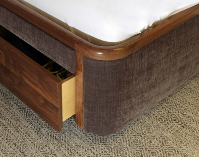 American Black Walnut Bed with fabric panels and Birch plywood drawers.