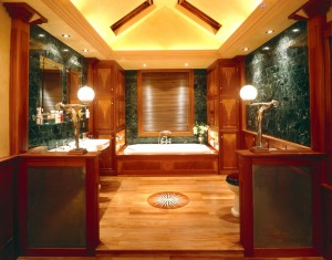 Art-Deco style Bathroom made from solid Mahogany, veneered Vavona panels and Maple inlay.