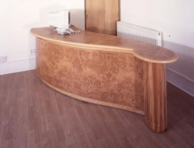 Reception Desk made from Oak and Burr oak veneers.