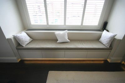 Bedroom Window Seat with drawers and concealing heating and air-conditioning system.  Spray-painted.