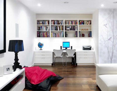 Home Study area - white spray-painted lacquer finish and white Corian top surface.