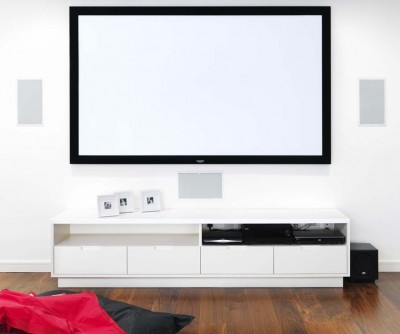Media unit - white spray-painted lacquer finish and white Corian top surface.