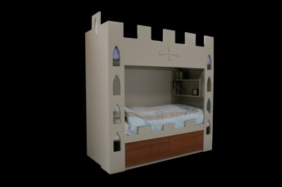 Children's Castle Bunk Bed with Cedar drawers.