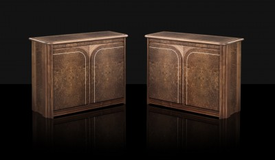 Cabinets made from solid Walnut and Burr Walnut veneers with Maple inlay.