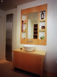 Vanity Unit and wall insert made from Maple.