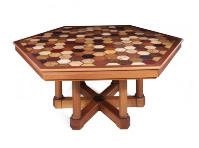 Work Table - designed and parquetry by Cyril Kinsky.  Made mostly from Mahogany with internal drawers and 'pigeon-holes'.  Segmented table leaf support column with rotating trays.