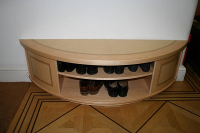Hall cabinet with storage for shoes with design and veneering by Cyril Kinsky.