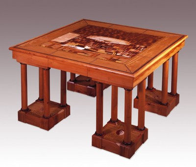 Library Table - designed and marquetry by Cyril Kinsky depicting the same table going in the same library.  Made from English Yew.