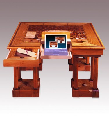 Library Table - designed and marquetry by Cyril Kinsky depicting the same table going in the same library.  Made from English Yew