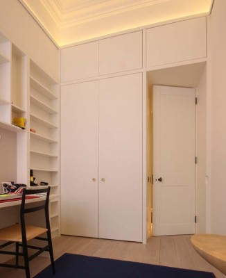 Guest Bedroom Wardrobes with Study area.  Oak interiors and hand-painted exteriors.  Interior lighting and lighting detail on top.