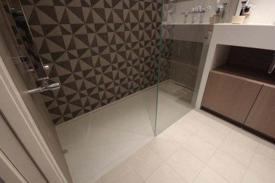Custom Shower Tray made to measure and to compliment flooring. In-situ.