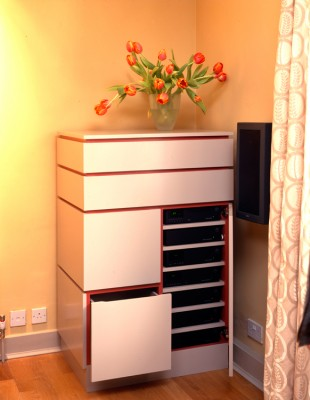 Hi-Fi Cabinet - spray-painted in two colours.