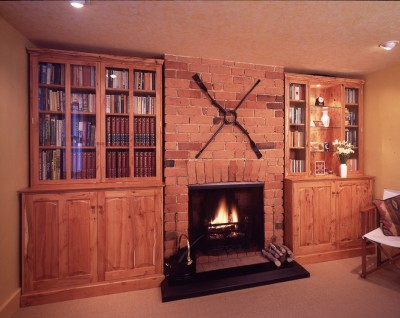 Cottage alcove cabinets made from English Yew.
