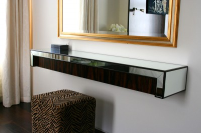 Wall-hung Dressing Table made from mirror and Macassar Ebony.