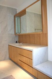 Bathroom Cabinets made from quarter sawn Oak with Cararra marble top.
