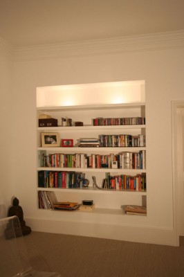 Recessed shelves spray-painted.