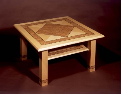 Coffee Table made from Maple, Burr Oak and Rosewood inlay.