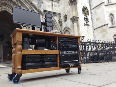 Camera station for SKY NEWS for operating cameras and moving between court rooms at The Royal Courts of Justice.  Colour matched Oak.