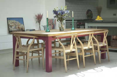 Kitchen Table with a painted under-frame and solid European Oak top.