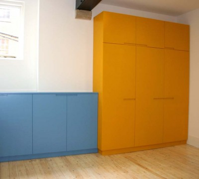 Children's Wardrobes and cabinet spray-painted with recess handles.