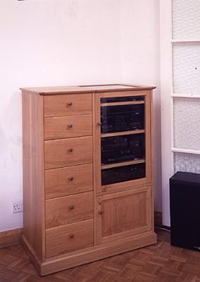 Oak Hi-Fi cabinet.