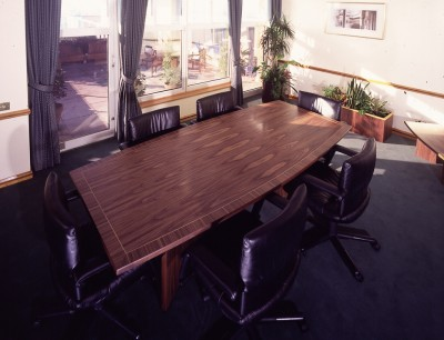 Walnut and Boxwood inlayed Meeting Table for the Chief Executive of the Woolwich Building Society.