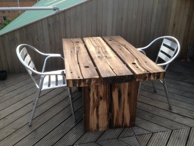 Roof Terrace Table made from railway sleepers.