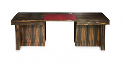 Knee-hole Desk made from Macassar Ebony with red leather table top insert.